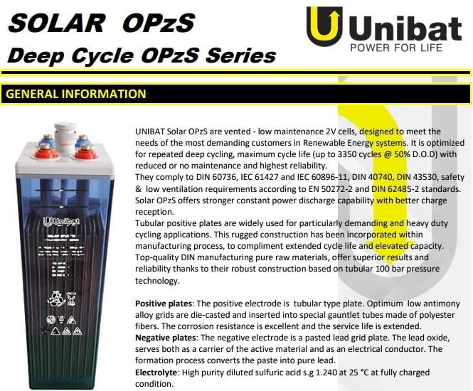 unibat solar opzs