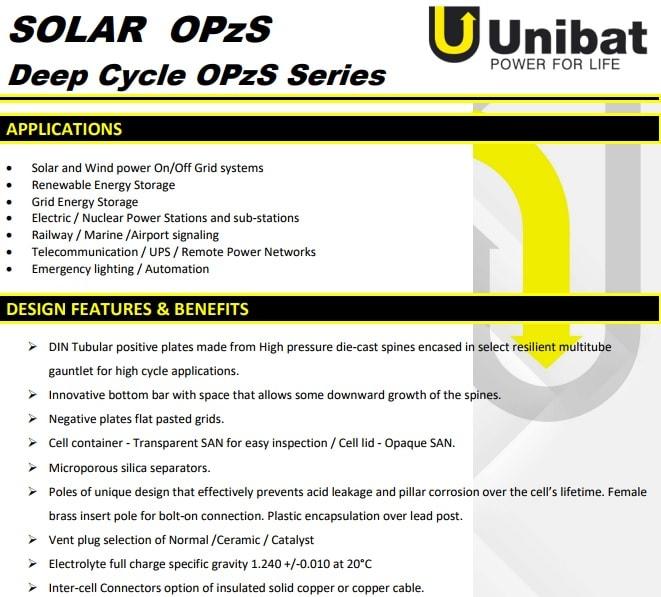 μπαταρίες unibat solar opzs
